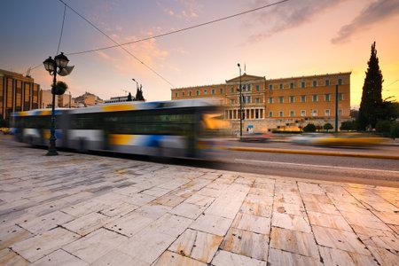 syntagma: Costruzione del Parlamento greco in piazza Syntagma, Atene.