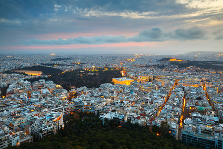 megalopolis: City of Athens as seen from Lycabettus Hill, Greece. Stock Photo