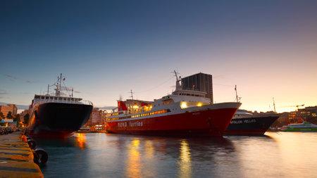 Ferries in passenger port in Piraeus, Athens, Greece