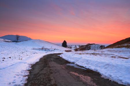 slovak: Evening in Slovak rural landscape.