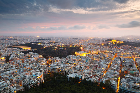 greece: City of Athens as seen from Lycabettus Hill, Greece. Stock Photo