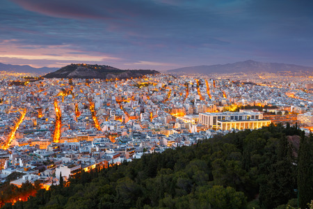 megalopolis: View of Athens from Lycabettus Hill Greece.