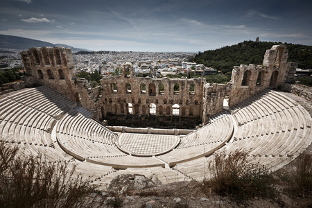 Antique open air theatre in acropolis Athens Greece. photo