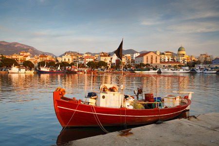 fishing boats: Fishing boats in the port of Patras Peloponnese Greece. Stock Photo