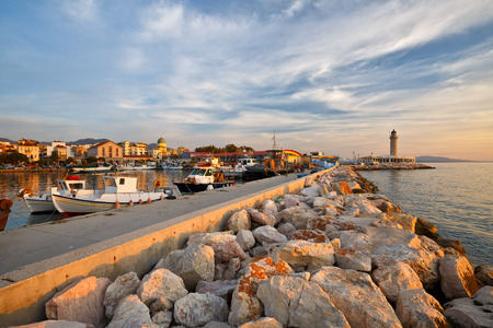 greece: Lighthouse in the harbour of Patras Peloponnese Greece. Stock Photo