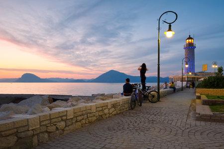greece shoreline: Lighthouse and a promenade in Patras Greece