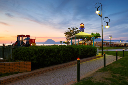 greece shoreline: Child playground near the lighthouse in Patras Greece