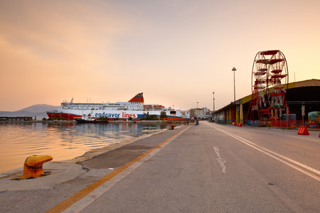 Ship docked in the port of Patras Peloponnese Greece Editorial