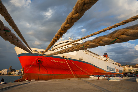 docked: Ship docked in the port of Patras Peloponnese Greece Editorial