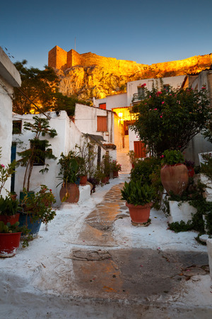 Acropolis as seen from the streets of Anafiotika Athens Greece