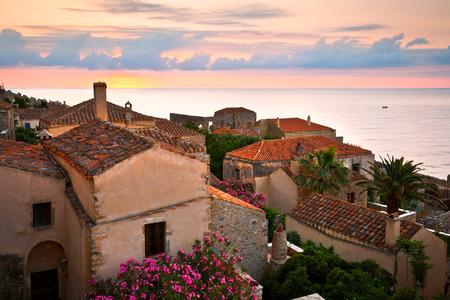 Monemvasia village in Peloponnese Greece.