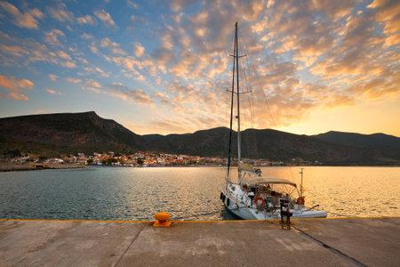 laconia: Yacht in Monemvasia, Peloponnese, Greece Editorial