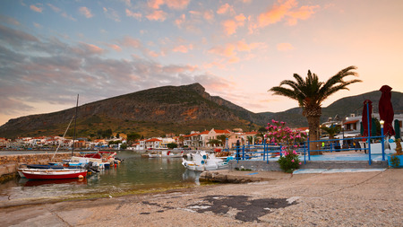 laconia: Harbour in the new Monemvasia village in Peloponnese, Greece