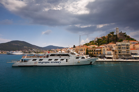 poros: View of the Poros island from the ferry Editorial