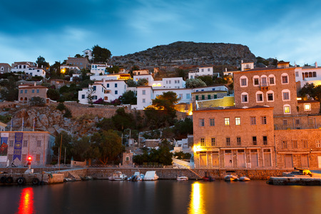 seafronts: Seafront of the port of Hydra on an early morning Editorial