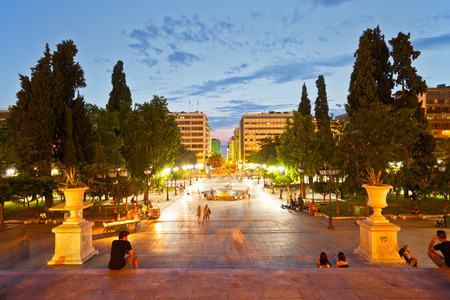 People enjoying the evening in Syntagma square