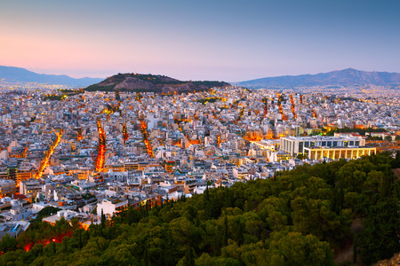 megalopolis: View of Athens from Lycabettus Hill, Greece. Stock Photo