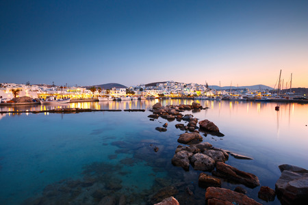 View of the port in Naousa village on Paros island, Greece