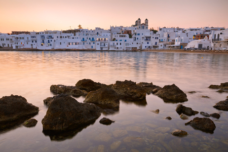 cycladic: Beach in Naousa village on Paros island, Greece
