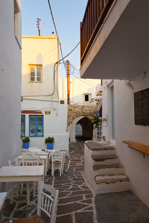 cycladic: Streets of the old part of Naousa village on Paros island, Greece
