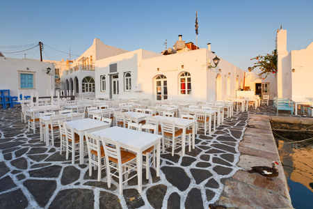 cycladic: Restaurants in the port of Naousa village on Paros island, Greece