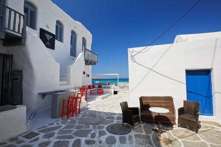 cycladic: Coffee shop on the beach in Naousa village on Paros island, Greece