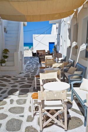 cycladic: Coffee shop by the beach in Naousa village on Paros island, Greece