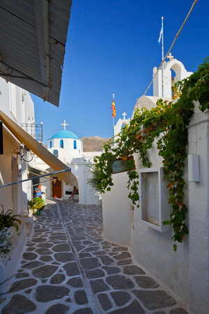 cycladic: Street with two small churches in the old part of Parikia, the capital and main port of Paros island in Greece