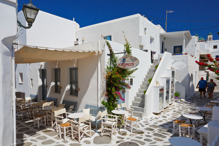 cycladic: Coffee shop in the old town of Naousa village on Paros island, Greece