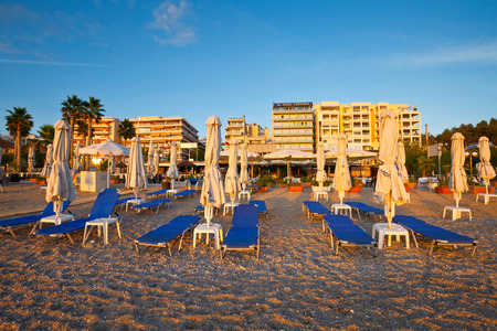 seafront: Umbrellas on the beach in Palaio Faliro in Athens, Greece Editorial