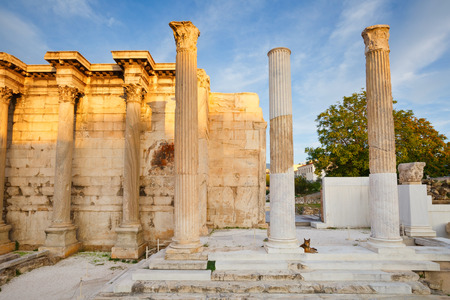 remains: Remains of the Hadrians Library in Plaka in Athens, Greece