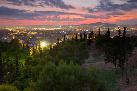 megalopolis: View of Athens from Strefi Hill on a summer evening. Stock Photo