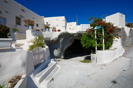 garage on house: House in Filakopi village with a garage in a volcanic cave, Milos island, Greece Stock Photo