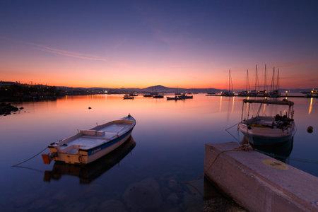 boat fishing: Milos bay of the Milos island as seen from Adamantas harbour Editorial