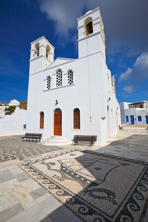cycladic: One of the main churches in Plaka village, Milos island, Greece.