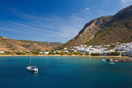 Greece: Kamares beach and village in Sifnos island, Greece. Stock Photo