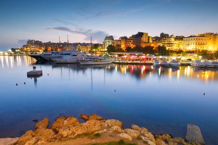 zea: Evening view of Zea Marina in Athens, Greece Editorial
