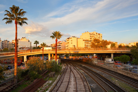 brige: Tracks of the Athenian Metro line 1 running from Piraeus to Kifissia as seen from the station of Neo Faliro Editorial