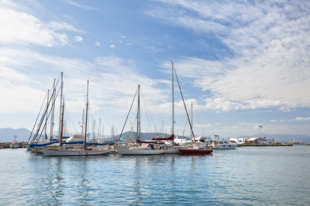 Sail boats: View of sail boats  in the harbour of Aegina island, Greece Stock Photo