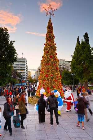 syntagma: Christmas tree and Santa Claus in Syntagma square in Athens during the advent