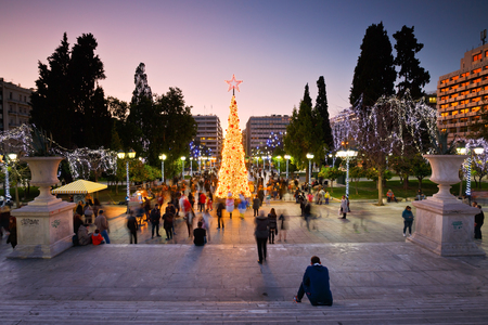syntagma: People at a christmas tree in Syntagma square during the advent before christmas Editorial