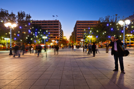 syntagma: People in Syntagma square decorated with christmas decorations during the advent Editorial