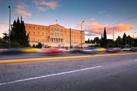 syntagma: Building of Greek parliament in Syntagma square, Athens