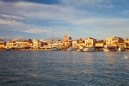 Sail boats: Fishing boats and sail boats in the port of Aegina, Greece