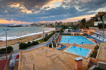 zea: View of the municipal swimming pool in Piraeus and mouth of Zea marina, Greece