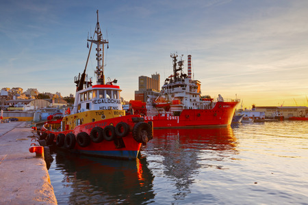 city fish market: Tug and a supply vessel at the central fish market in Piraeus, Athens