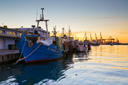 Fishing boats at the central fish market in Piraeus, Athens