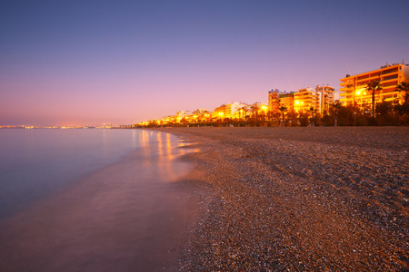 Beach in Palaio Faliro and the seafront of Athens, Greece.