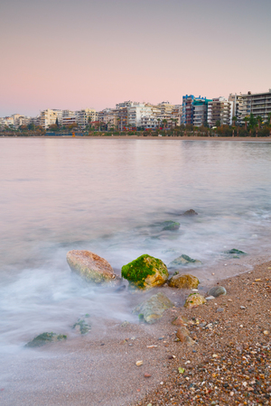 seafront: Beach in Palaio Faliro and the seafront of Athens, Greece.
