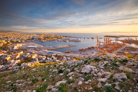 View of Piraeus harbour in Athens from the foothills of Aegaleo mountains Stock fotó